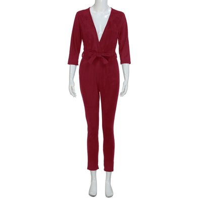 Deep V-neck 3/4 Sleeve Solid Color Jumpsuit Trousers Skinny Romper One Piece Bodycon Sexy With Sashes