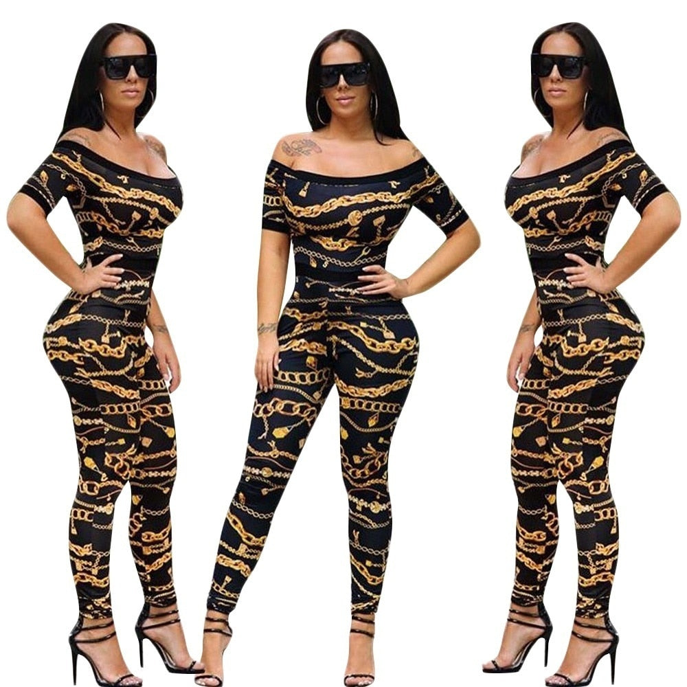 watch cozy fresh top fashion One-shoulder Printed Tight Romper Party Long Sexy Jumpsuit Kendall ...