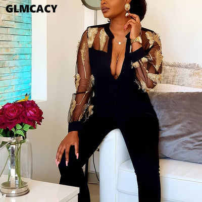 Feather Embroidery Insert V Neck Long Sleeve Sexy Partchwork Long Overalls Elegant Jumpsuit