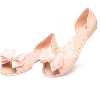 Flat Jelly Summer Bowtie Outdoor Slippers Slip On Sandalias Shoes