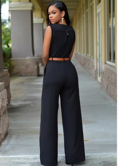 Women Jumpsuit Long Rompers Sleeveless V-neck Wide Leg Jumpsuit With Belt Sexy