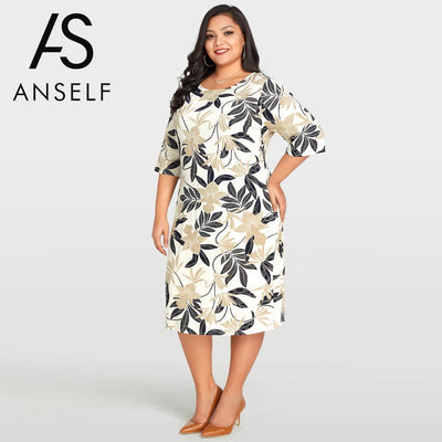 Bohemian Leaves Floral Print Casual Loose Midi Plus Size Dress