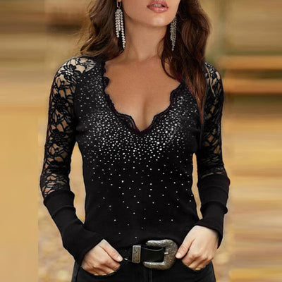 Long Sleeve T-Shirts Patchwork Design Lace Diamond Decor See Through V-Neck Solid Top Elegant Slim Shirts