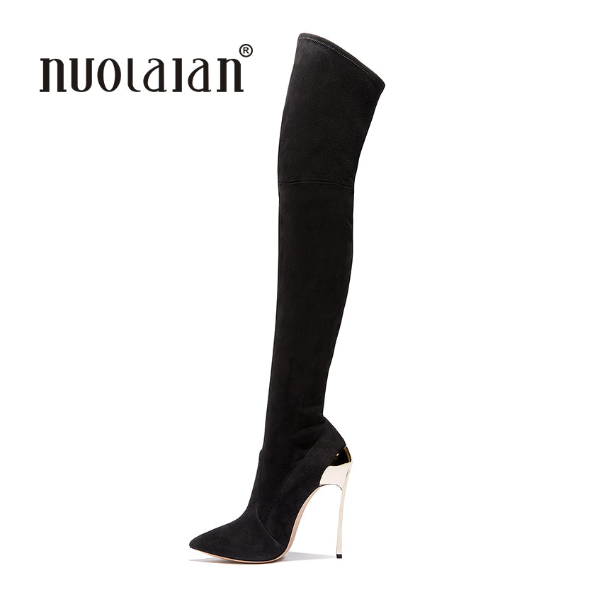 4349d8cccd Over The Knee Boots Suede Autumn Winter High Heels Boots - Live a ...