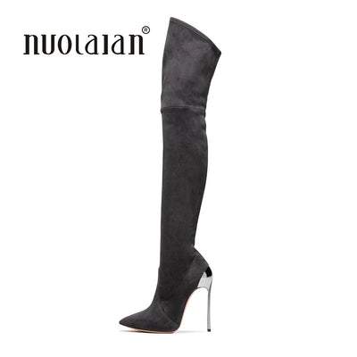 Over The Knee Boots Suede Autumn Winter High Heels Boots