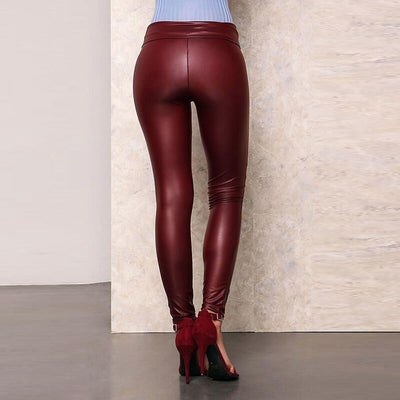 Solid Color PU Hole Casual Trousers Slim Fit Large Size Ladies Pants