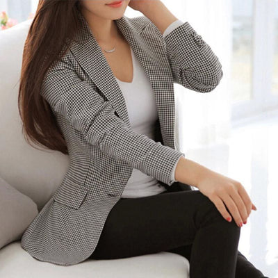 Plaid Blazers Long Sleeve Work Wear Casual Outerwear Plus Size