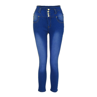 High Waisted Skinny Jeans Stretch Slim Pencil Pants Hole Calf Length