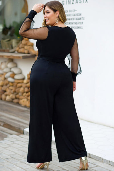 Deep V Neck Holiday Sexy Jumpsuit Black Patchwork Mesh Sleeve Elegant With Belt Plus Size 4XL