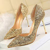 Pumps Sexy Glisten Heels Hollow Shallow Mouth High Heels Stiletto