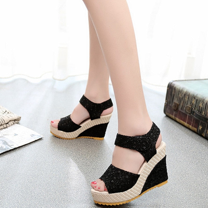 d0be3c530 Summer Lace Hollow Gladiator Wedges Slides Peep Toe Hook   Loop Solid Lady  Casual Sandals