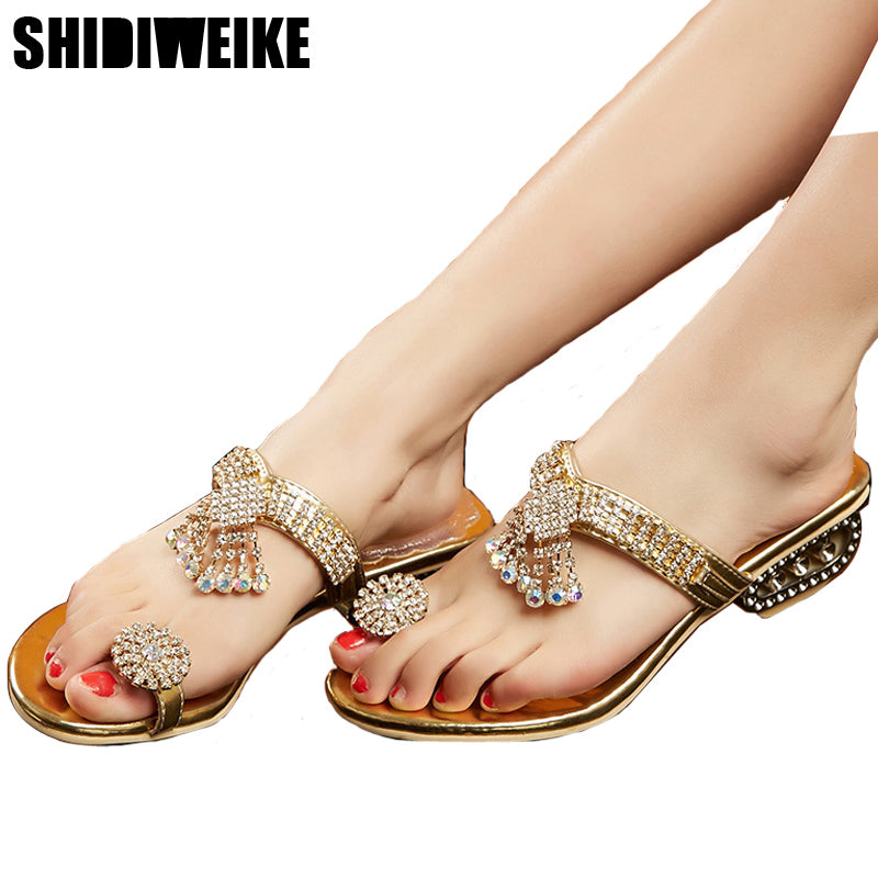 7e68b6e2422952 Flip Flops Summer Rhinestone Wedges Slides Crystal Beautiful Lady Casual  Shoes