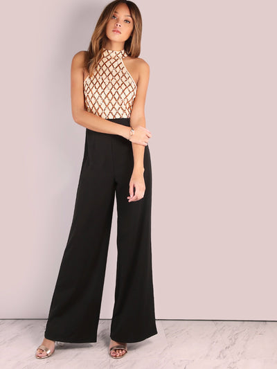 Sexy Halter Cold Shoulder Plaid Sequin Jumpsuit Elegant Casual Party Pants Boot Cut