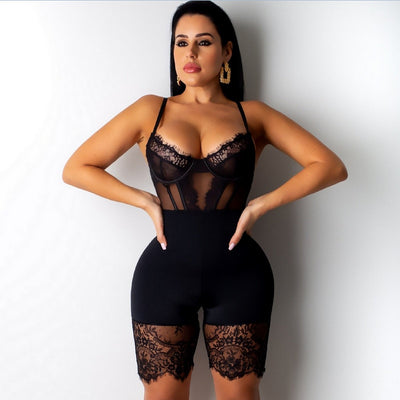 Sexy Romper Lace Backless Shorts Jumpsuit Hollow Out Playsuit Bodysuit
