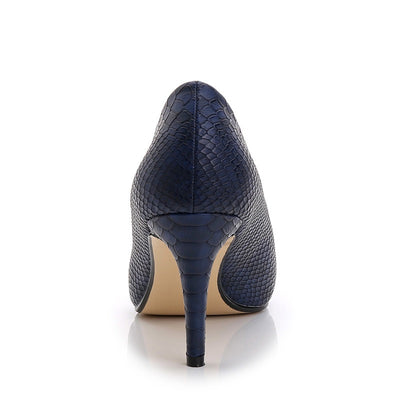 Leather dress pumps Pointed Toe Elegant Blue Pumps Genuine Leather shoes