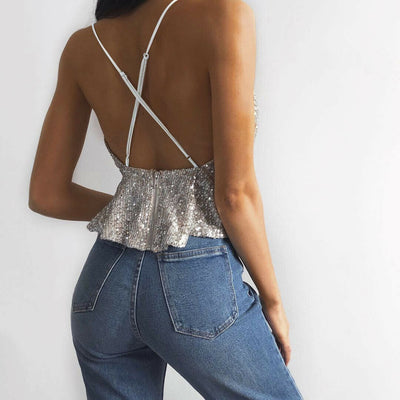Sexy V-Neck Sequined Camisole Spaghetti Bandage Cross Camis Thin Shiny Glitter Bling