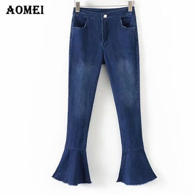 Women Slimming Jeans Black White Solid Color Pants