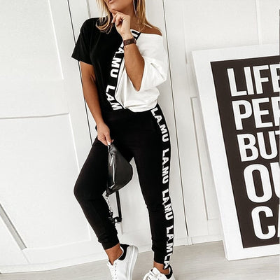 Spring sexy off shoulder Tracksuit sets Boat Anchor Print tops Two Piece Set Elastic Waist Long Pants Sets