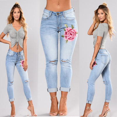 Stretch High Waist Skinny Embroidery Without Ripped Floral Holes Denim Pants