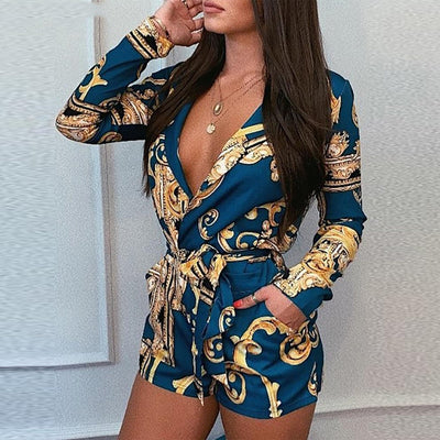 V Neck Print Sashes Sexy Elegant Chic Street Wear Fashion Playsuits Short Jumpsuit Women