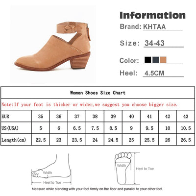 92836286730 Vintage Chunky Heel Autumn Ankle Faux Suede Zip High Quality PU Casual Boots