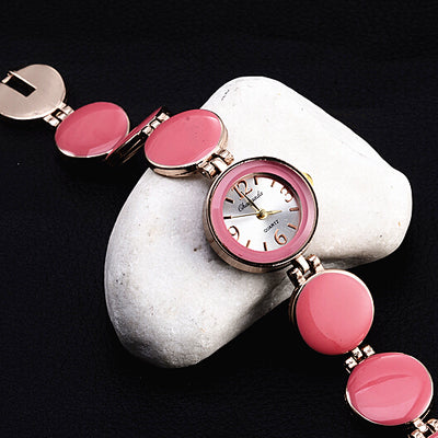 Nobler Fashion Casual 5 Colors Wafer Design Round Dial Bracelet Watch Wristwatch