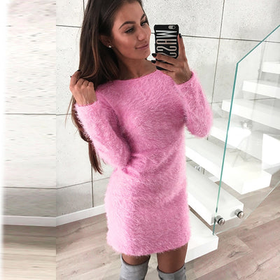 Winter Long Sleeve Solid Fleece Warm Basic Short Mini Dress sweater