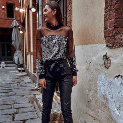 Long Sleeve Sequin Sparkly Glitter Tops Party Mesh Blouse Casual Loose Pullover