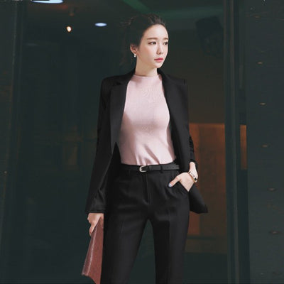 Style Fashion Black Suits Sets Solid Color Double Button Jackets Blazers +Pants