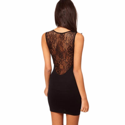 Sexy Lace Hollow out Sleeveless Slim Hip Bodycon Cocktail Club Party