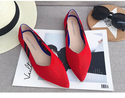 Flats knitted mixed color moccasins breathable cozy loafer brief slip-on flats