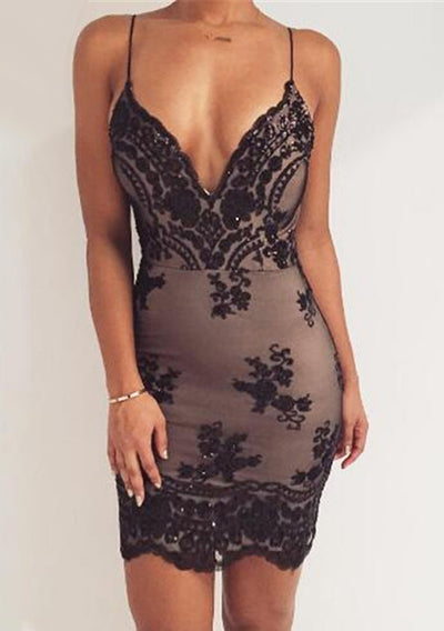 Gold Black Sequins Sexy V neck Backless Sundress Mini Dresses
