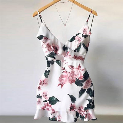 Sexy V Neck Floral Printed Strappy Mini Ruffle Casual beach dresses