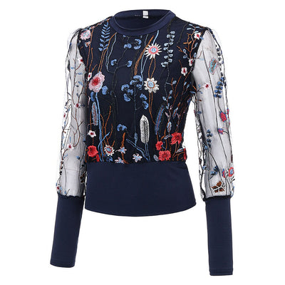 Casual O-Neck Long Sleeve Embroidery Floral Sheer Mesh Insert Top Chiffon Blouse