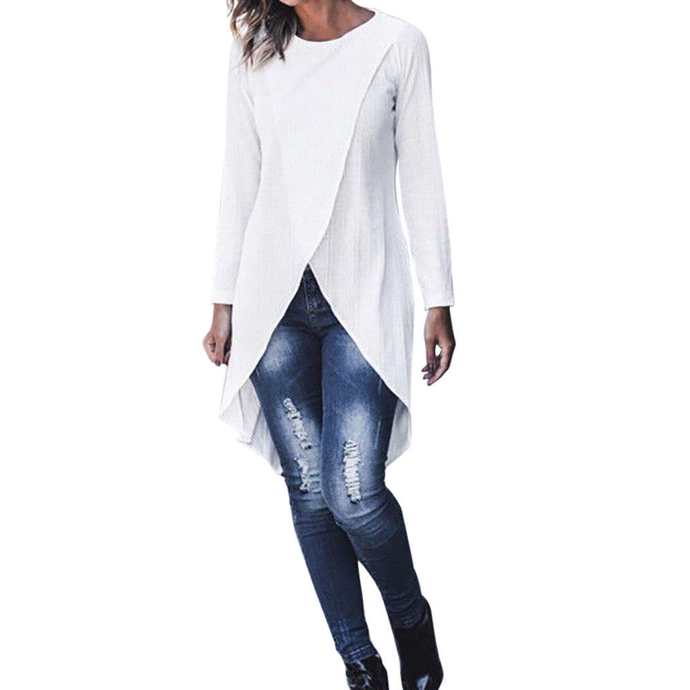 Womens Tops and Long Sleeve Blouses Streetwear Solid Long Shirts Woman Clothes Tunic Ladies Tops