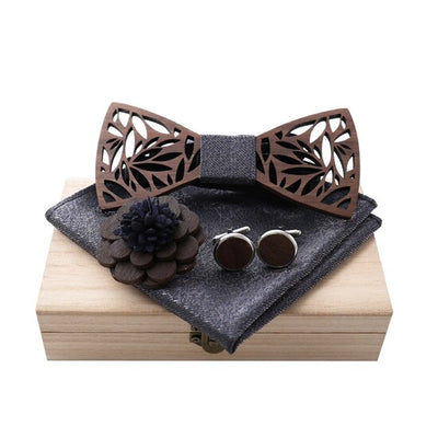 Wooden Bow Tie Handkerchief Set Wood Hollow carved cut out Floral design with wooden box
