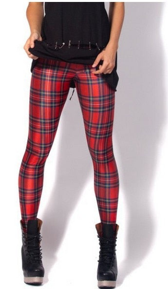 X-355 Classic Red Plaid Women Leggings Digital Print Women Sexy Pants