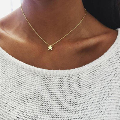 X349 Simple Bohemain Heart Moon Pendant Gold Color Multi Layer Choker Necklace Charm