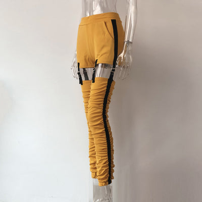 XLLAIS Stretch Pleated Track High Waist Yellow Cargo Pants bohemian Clothes