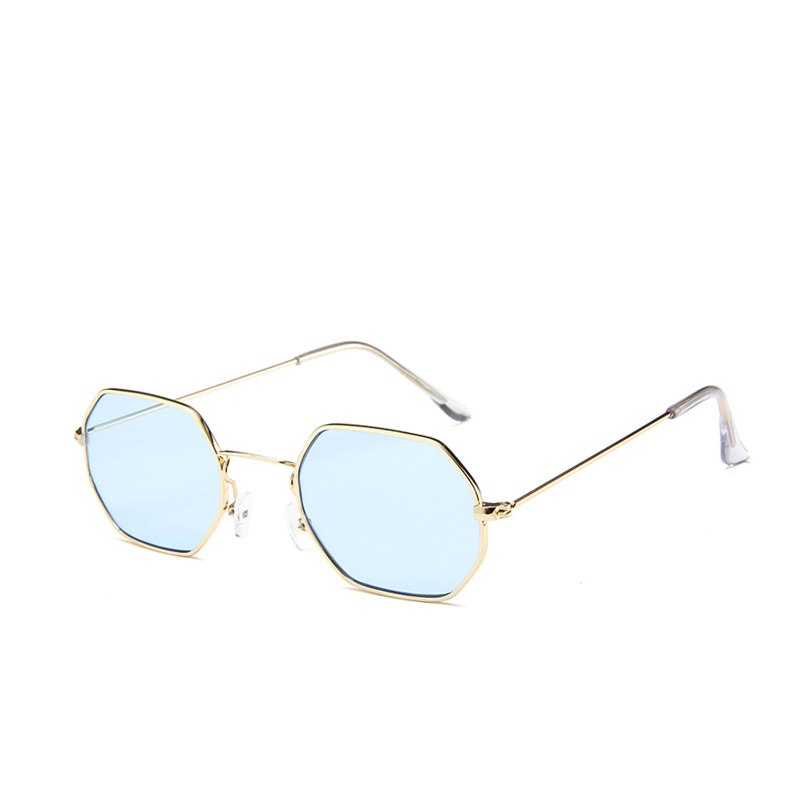 Xinfeite Small Metal Polygonal Colorful Summer Sunglasses For MenWomen