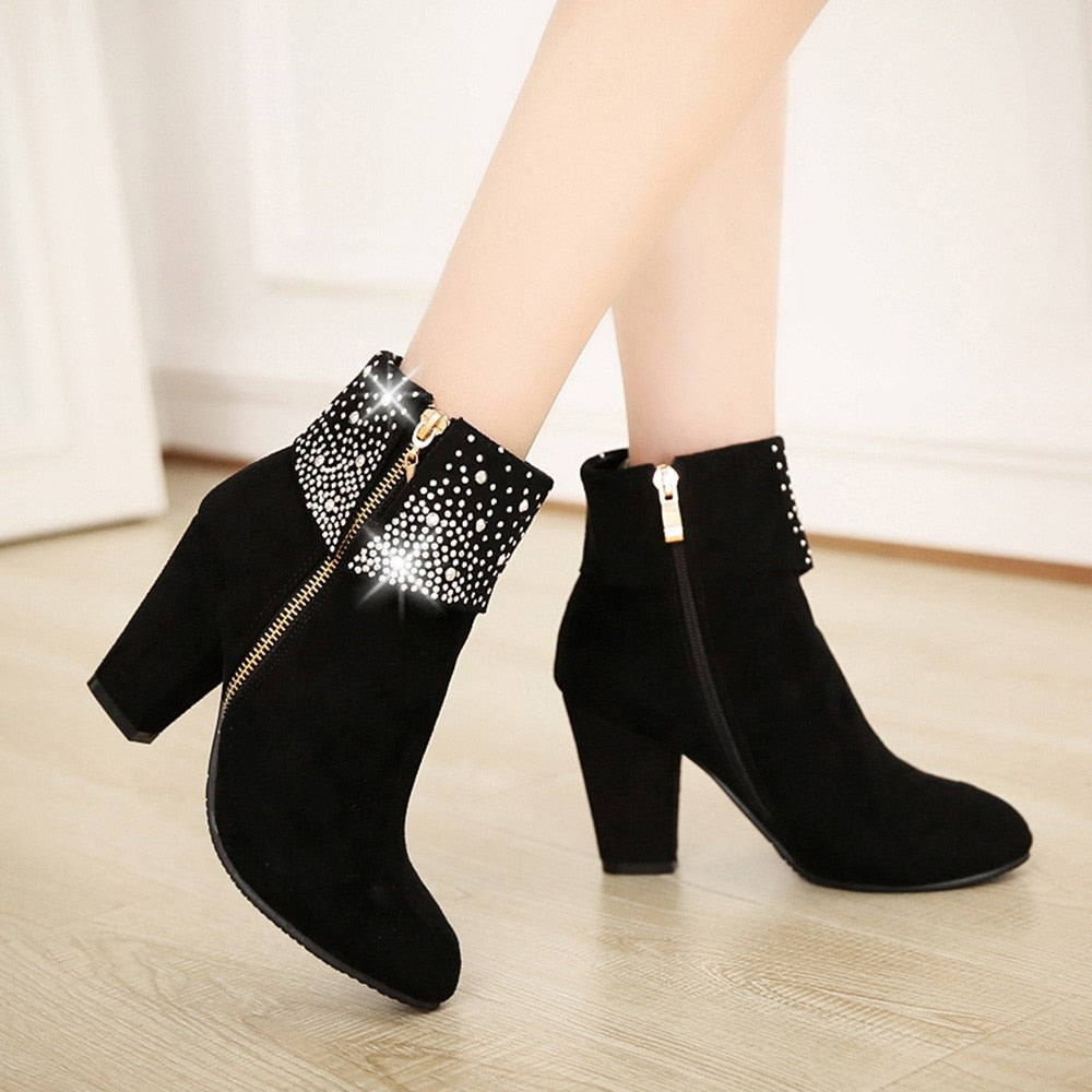 YOUYEDIAN Red Crystal Ankle High Heel Winter Zipper Boots