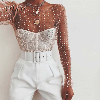 YiDuo Transparent O-Neck Long Sleeve Sexy Lace Mesh Pearl Beading Blouse