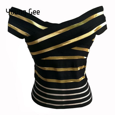 Young Gee Slash Neck Crop Top Elastic Bandage Stretch Striped Tight Camis Vest Tank Tops