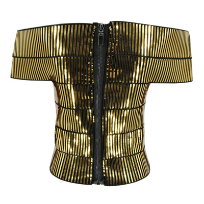 Young Gee Gold Silver Camis Wrapped Bustier Off the Shoulder Tank Crop Tops Sexy Short Sleeve Cropped