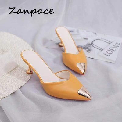 Zanpace Slippers High Thin Heels Sexy Pointed Top Outdoor Slides House Slippers Flip Flops