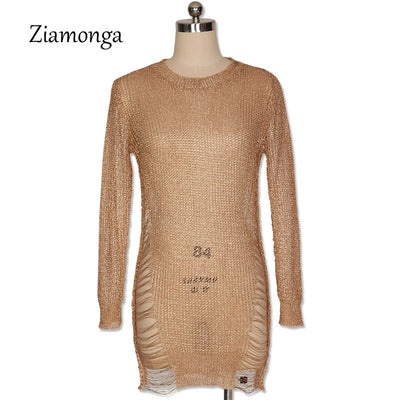 Ziamonga Gold Metallic Knitted Shredded Sweater Stretch Sexy Cut-Out Metallic Sequins Dress