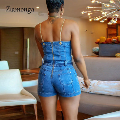 Ziamonga Strap Sexy Denim Rompers Pocket Bodycon jeans Overalls Casual jumpsuit