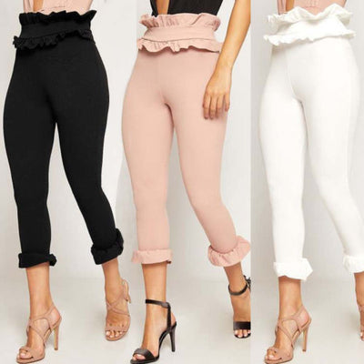 Hirigin High Waist Slim Skinny Stretchy Elegant Flouncing Side Pencil Pants