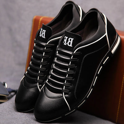 Leather massage derby lace-up solid wedges black dress shoes