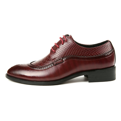 Formal leather luxury snake fish skin pointed toe Italian brogue oxford shoes